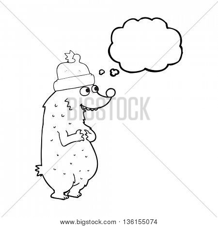 freehand drawn thought bubble cartoon bear wearing christmas hat