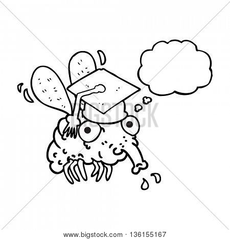 freehand drawn thought bubble cartoon fly graduate