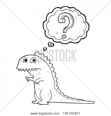 freehand drawn thought bubble cartoon confused dinosaur