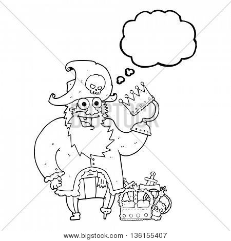 freehand drawn thought bubble cartoon pirate captain