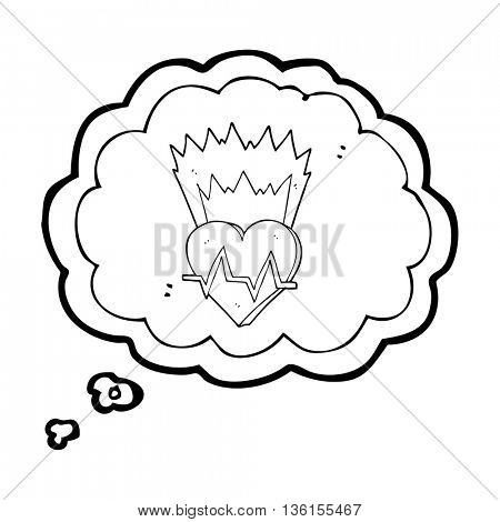 freehand drawn thought bubble cartoon heart rate