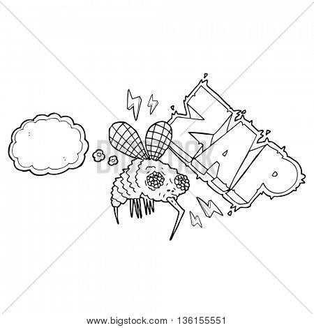 freehand drawn thought bubble cartoon fly zapped