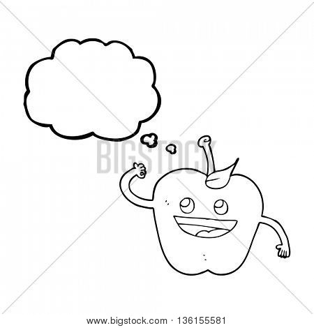 freehand drawn thought bubble cartoon apple