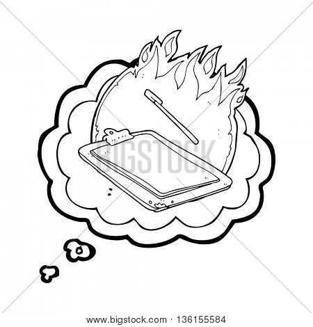 freehand drawn thought bubble cartoon clip board on fire