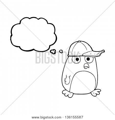 freehand drawn thought bubble cartoon bird in cap