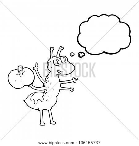 freehand drawn thought bubble cartoon ant with apple