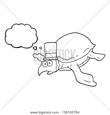 freehand drawn thought bubble cartoon turtle