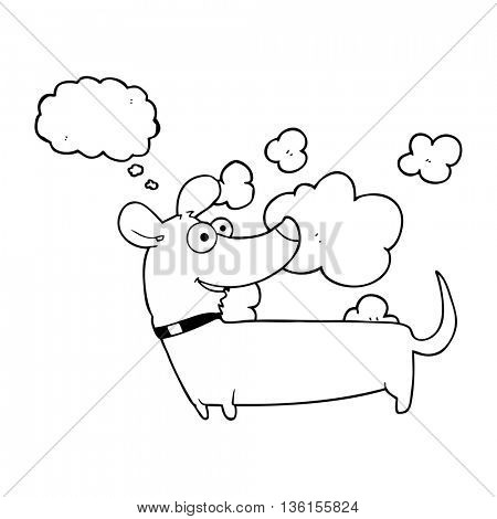 freehand drawn thought bubble cartoon happy dog