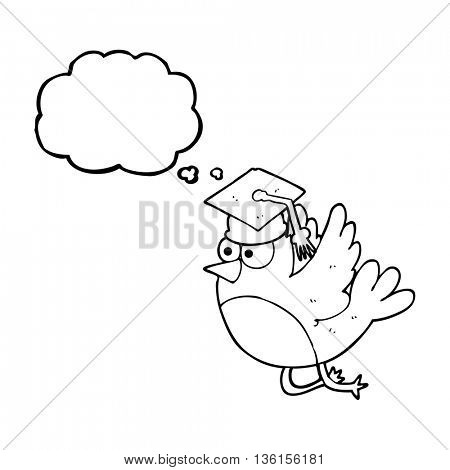 freehand drawn thought bubble cartoon bird wearing graduation cap