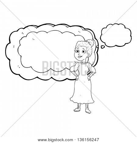 freehand drawn thought bubble cartoon victorian woman in dress