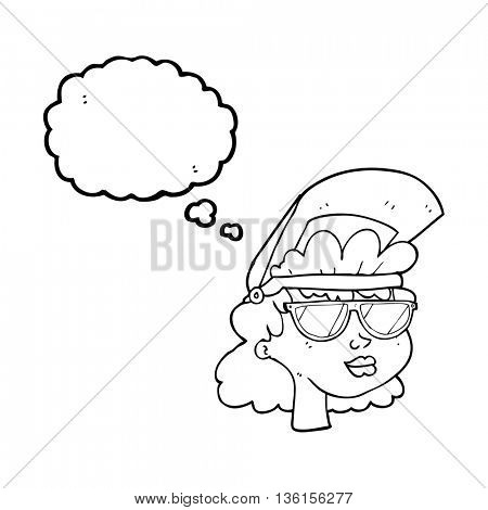 Freehand drawn thought bubble cartoon woman with welding mask and glasses