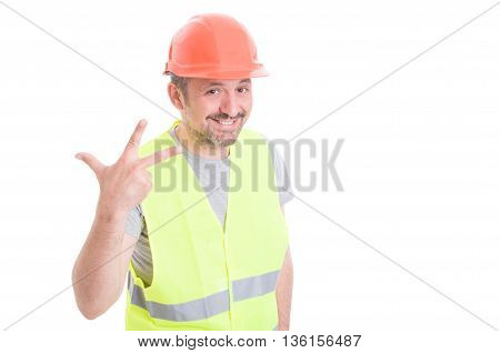 Professional Constructor Doing Number Three Sign