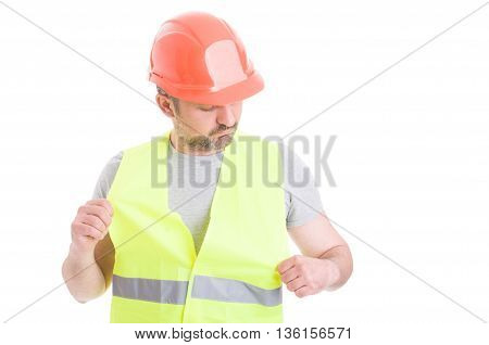 Young Constructor With Orange Helmet Wearing Safety Vest