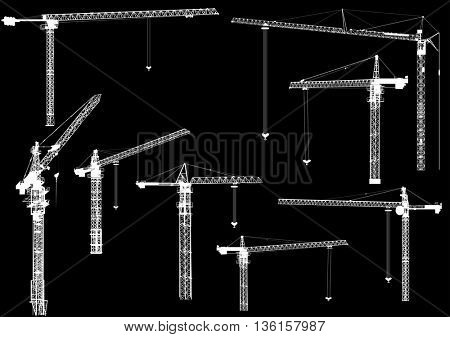 illustration with building cranes isolated on black background