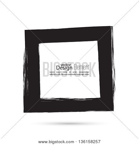 Hand drawn square, photo, foto frame. Text box smears. Vector Black border. Grunge banner
