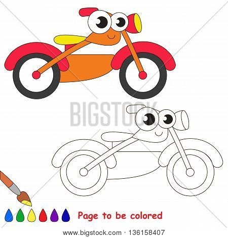 Orange motor bike to be colored. Coloring book to educate kids. Learn colors. Visual educational game. Easy kid gaming and primary education. Simple level of difficulty. Coloring pages.