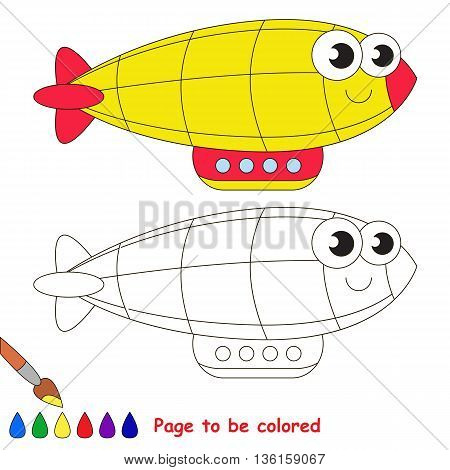 Yellow zeppelin to be colored. Coloring book to educate kids. Learn colors. Visual educational game. Easy kid gaming and primary education. Simple level of difficulty. Coloring pages.