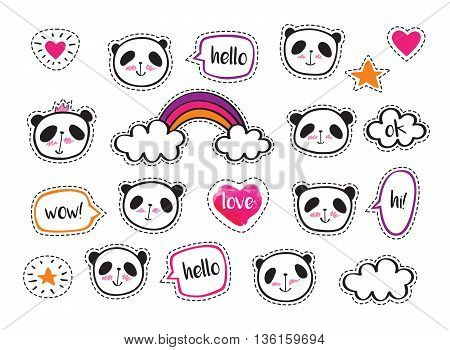 Set of stickers with cute pandas and bubbles. Badges for clothing. Doodles, sketch for your design. Hand drawing. Vector.