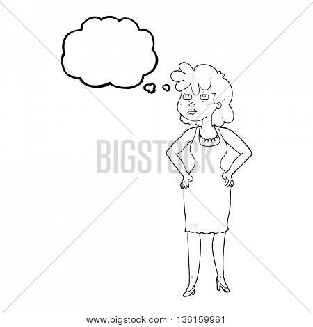 freehand drawn thought bubble cartoon annoyed woman