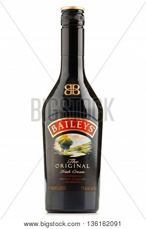 POZNAN POLAND - JUNE 23 2016: Baileys Irish Cream is an Irish whiskey- and cream-based liqueur made by Gilbeys of Ireland. Brand currently owned by Diageo.