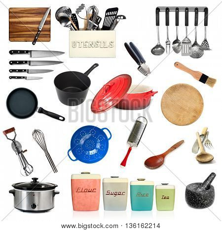 Collection of kitchen utensils, isolated on white.