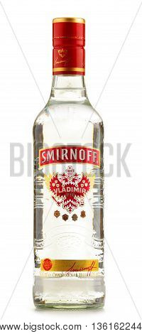 POZNAN POLAND - JUNE 23 2016: Smirnoff is a brand of vodka owned and produced by the British company Diageo. Founded in Moscow by Pyotr Arsenievich Smirnov it is now distributed in 130 countries