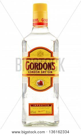 POZNAN POLAND - JUNE 23 2016: Gordon's is a brand of the world's best selling London Dry gin. It is owned by the British spirits company Diageo.