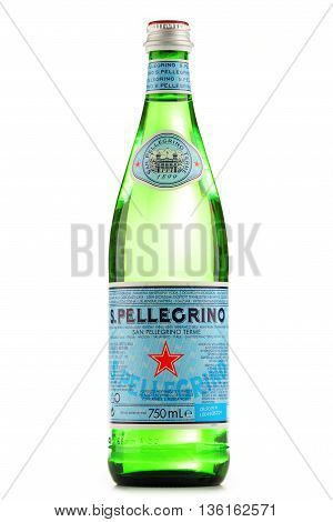 Bottle Of San Pellegrino Mineral Water Isolated On White