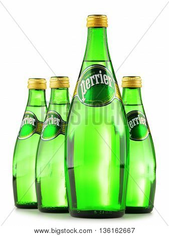 Bottles Of Perrier Mineral Water Isolated On White