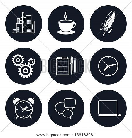 Set of Round Business Icons, Office Work, Team Work, Long Hours in the Office, Presentation and Discussion, Black and White Vector Illustration