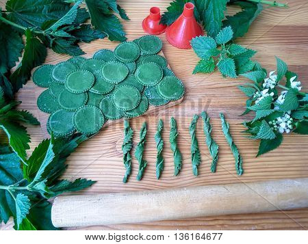 Nettles green pasta cooking food from weed using wild plants