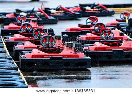 Red Racing Gokarts On Track