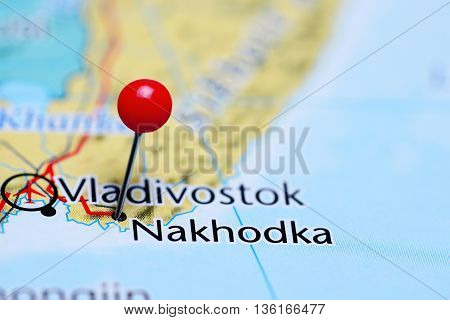 Nakhodka pinned on a map of Russia