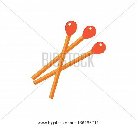 Matches vector illustration. light wood flat icon. matchstick isolated on white background