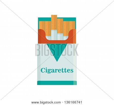 Pack of cigarettes vector illustration. Tobacco smoke flat icon. nicotine cigarette isolated on white background. addiction cigarette