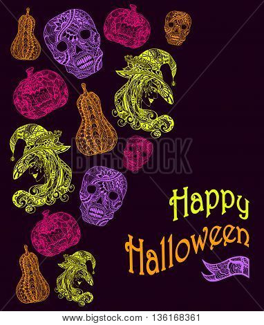 Halloween Set  with witch skill pumpkins light green pink lilac orange on black in Zen-tangle or Zen-doodle style for decoration flyers banners Post Card on celebrating Halloween holiday
