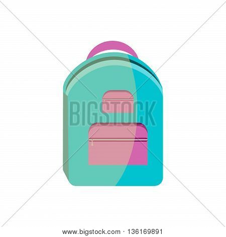 Blue school bag vector icon. Education school bag student knapsack baggage rucksack notebook. School bag luggage pencil zipper learning stationery design. Supplies pen luggage.