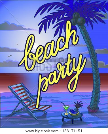 Summer Beach Lettering Party Flyer. Vector Illustration.