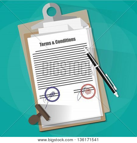 Examining the Terms and Conditions of a Legal Agreement. contract papers, stamp and pen. vector illustration in flat style on green background
