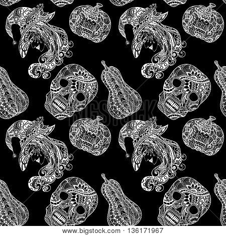 Seamless pattern with witch skill pumpkins white on black in Zen-tangle or Zen-doodle style for decoration flyers banners Post Card on celebrating Halloween holiday