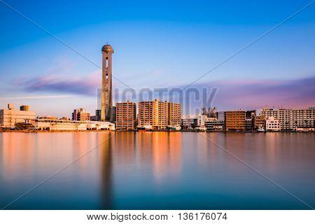 Shimonoseki, Japan waterfront skyline at the tower.