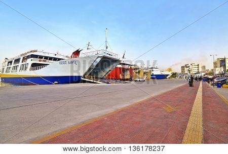 PIRAEUS PORT GREECE, JUNE 04 2016: panoramic landscape of the port of Piraeus Greece. Editorial use.