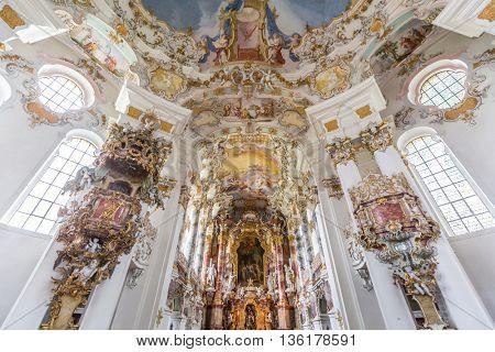WIES, GERMANY-JUL 18 Interior of Pilgrimage Church of Wies on July 18, 2015 at Wies Germany. The Pilgrimage Church of Wies is an oval rococo church, designed in the late 1740s by Dominikus Zimmermann.