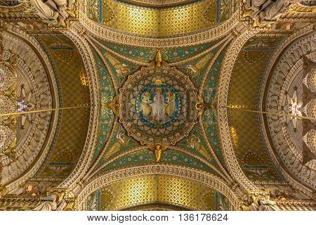 LYON, FRANCE - MAR 15 :Interior of Notre-Dame de Fourviere Basilica on March 15, 2016. This is a minor basilica in Lyon. It was built with private funds  in a dominant position overlooking the city.