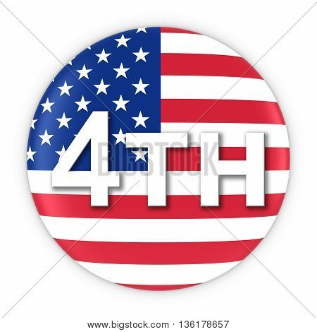 American Independence Day Flag Button 4Th July 3D Illustration