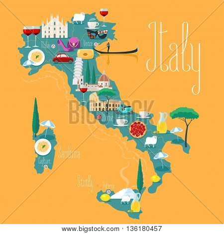 Map of Italy vector illustration design. Icons with Italian Colosseum pizza wine cathedral. Mediterranean Sicilia and Sardinia islands. Explore Italy concept image
