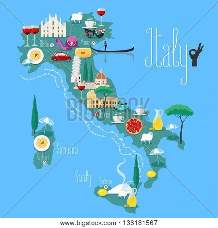 Map of Italy vector illustration design. Icons with Italian Colosseum pasta gandola cathedral. Sicilia and Sardinia islands. Explore Italy concept image