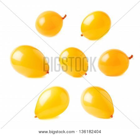 Inflated orange air balloons isolated over the white background, set collection of multiple different foreshortenings