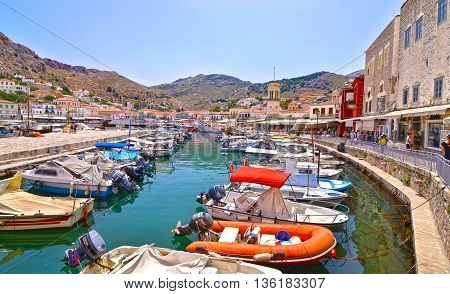 HYDRA GREECE, JUNE 03 2016: landscape of the port of Hydra island Saronic Gulf Greece. Editorial use.