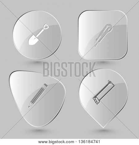 4 images: spade, knife, pencil, hacksaw. Angularly set. Glass buttons on gray background. Vector icons.